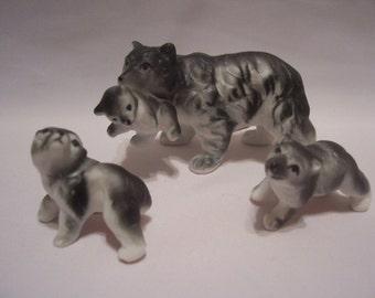 Miniature Black Bear Bone China Figurines