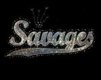 Savages - Silver - Mascots - Iron on Transfer - Sequin and Rhinestone - J8250