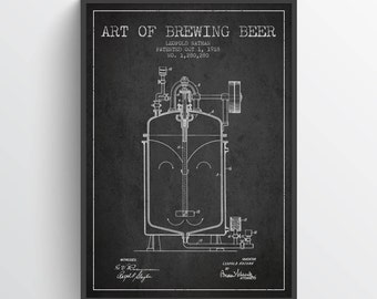 1918 Art Of Brewing Beer Patent Poster, Beer Poster, Beer Print,  Home Decor, Gift Idea, LSFB56