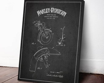 1949 Harley Davidson Motorcycle Patent, Harley Davidson Canvas Print, Harley Davidson Wall Art, Home Decor, Gift Idea, TRBM04C