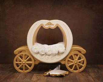Digital Newborn Backdrop Princess Carriage and Glass Slipper. One of a kind prop!