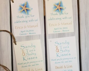 10 beach wedding favor tags w/twine, starfish favor tags, sandy toes salty kisses favor tags, thank you wedding favor tags, beach theme tags