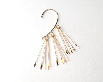 Gold ear cuff, Artemis long gold spears. WILD LOOK. UK seller
