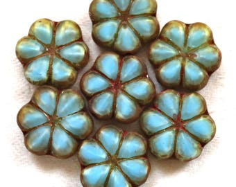 Lot of six 15mm table cut, carved,opaque, sky blue & picasso Czech glass flower beads C02106