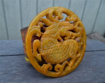 Orange Red Fire Chinese Hand-Carved Jade Dragon Pendant Painted Up-Cycled Leather Cuff Bracelet