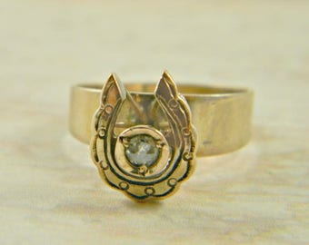 Antique Victorian Horseshoe Ring | Natural Diamond Ring | Gold Filled Ring |  Diamond Horseshoe Ring | Lucky Horseshoe | Size 7