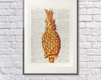 Copper Pineapple - Vintage Upcycled handmade dictionary Print - Laura Ashley