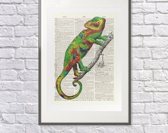 Chameleon - Vintage upcycled handmade Dictionary Print - Surreal - Colourful- Personalised - Customize Colour - Bathroom/Living Room/Hallway