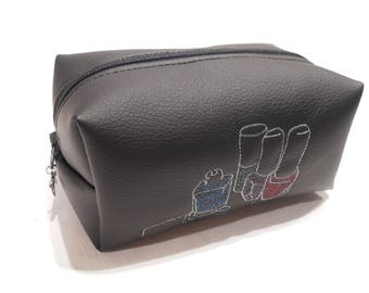Limited Edition Faux Leather Boxy Case, Nail Polish Tidy, Nail Varnish Holder, Free Motion Embroidery, Makeup bag, Cosmetic Bag