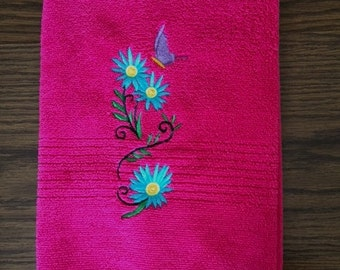 Hot Pink Hand Towel with Embroidered Butterfly Spray