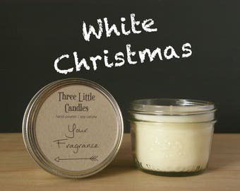 White Christmas Soy Candle Mason Jar - 170g - 30 + Hour Burn Time