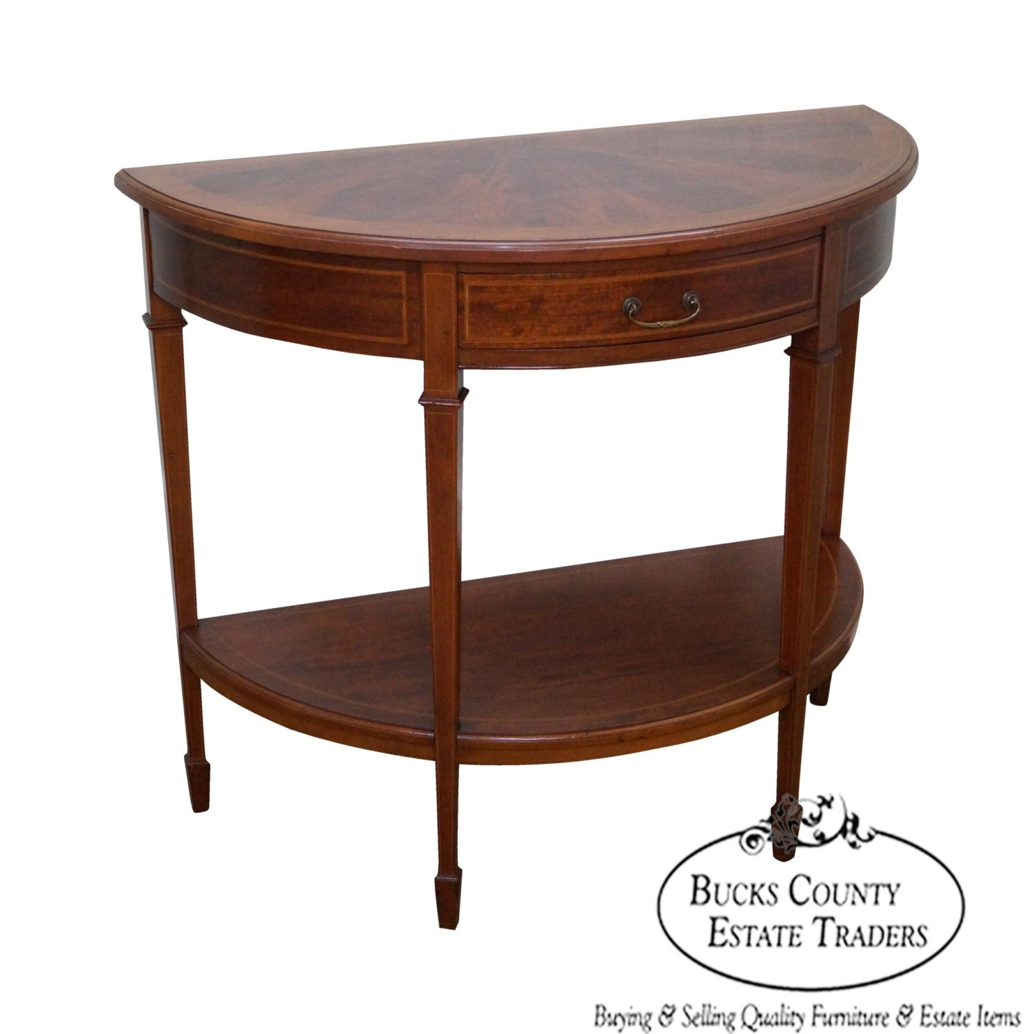 Antique flame mahogany demilune 1 drawer console table for Demilune console table with drawers