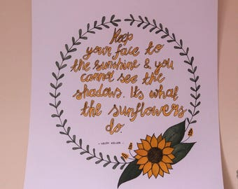Floral Wreath Quote.Sunflower drawing.Ink Drawing.Original Artwork.Encouraging Quotes.Sunflower Artwork.Sunflower Painting.
