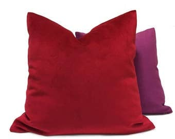 "True Red Brooklyn Velvet Pillow Cover, Fits 12x18 12x24 14x20 16x26 16"" 18"" 20"" 22"" 24"" Cushion Inserts"
