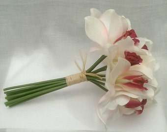 Pink and white  bridal/ bride maid orchids bouquet