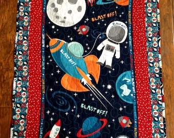 """Boys *Rocket Blast Off* 38""""W x 44L"""" Stippling Quilted Baby Nursery Crib Toddler Blanket Bedding Astronaut Space Earth Moon"""