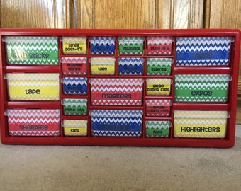 RED Limited Teacher Toolbox Gift Toolkit 22 Drawers Customizable Labels Chevrons Colors Classroom Desktop Primary Organizer Personalized