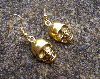 Tibetan Gold Skull Earrings. Skull Earrings. Antique Gold Tone Skull Earrings. Day Of The Dead Earrings. Charm Earrings. Gold Skull Earrings