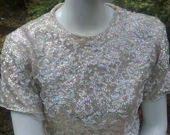 Silver Sequin Short Sleeved Top- Size XS