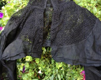 Victorian Black Lace Long Sleeve Half Blouse