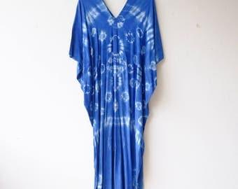 Shibori bird wing Maxi dress.A005 Indigo/Tie Dye/Caftan Maxi Dress/Beach Cover Up/Kaftan