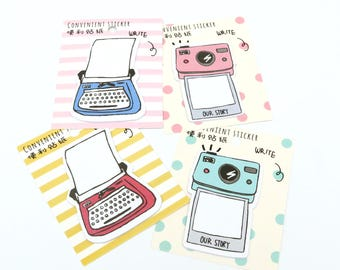 Typewriter Polaroid Camera Sticky Notes Retro Post Its Set oF 4 Planner Accessories Memo Pad Page Marker