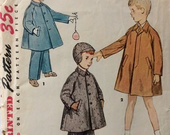 Simplicity 4455 vintage 1950's boys coat, hat and leggings sewing pattern size 2