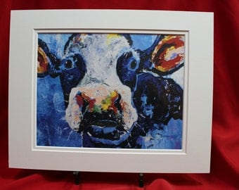 Abstract Blue Holstein Cow Art Print, Blue Cow wall Art, Matted Black and White Cow Painting.