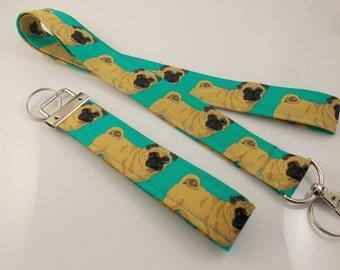 Pugs Pug Lanyard Key Fob Teacher Lanyard Dog Lanyard Pug Keychain Pug Key Holder Lanyard Pug Necklace ID Badge Holder Dog Lover Lanyard