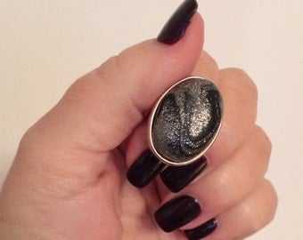 Black and Silver Oval Ring