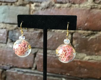 Pink Moss Terrarium Earrings with Quartz Gemstone