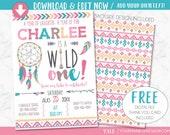 Wild One Birthday Invitation, Dreamcatcher Girl Tribal Arrow Feathers Pow Wow Invite Printable, Pink Boho Wild and Free Thank You Card