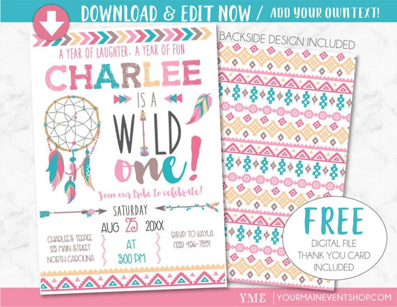 Wild One Birthday Invitation, Dreamcatcher Girl Tribal Arrow Feathers Pow Wow Invite Printable, Pink Boho Wild and Free Thank You Card