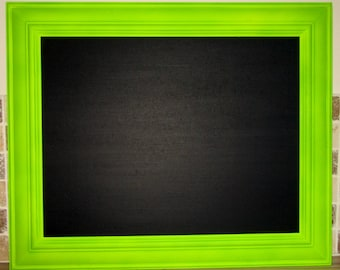 Large Fluorescent Yellow Green Framed Chalkboard / Blackboard / Memo / Kitchen / Noticeboard