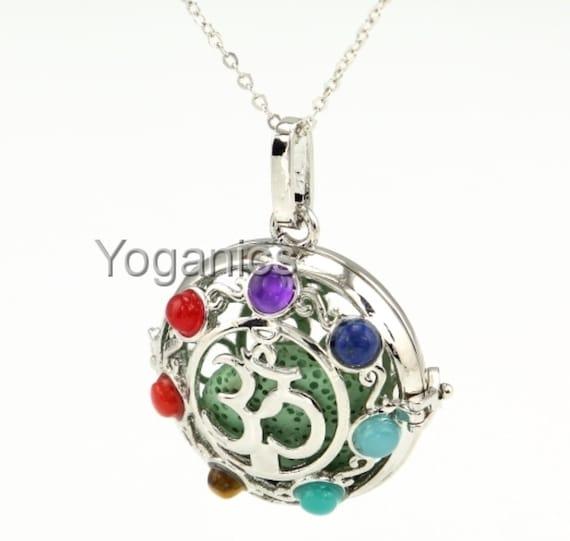 Chakra OM - Gold Lava Rock -  Essential Oil Diffuser Locket Necklace - Nickel Free - Healing Jewelry - Yoga - Chakra Stones - Energy