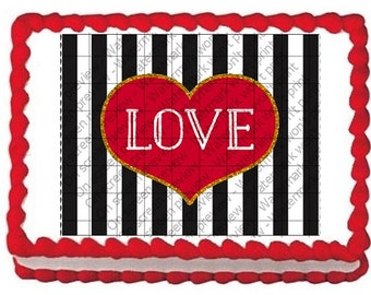 LOVE Valentine Stripes Edible Image