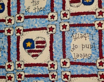 """18""""x22"""", Fat Quarter, Stars with Stripes and Hearts, General Fabric Company, Quilting Fabric, 4th of July Fabric, Fabric, General Fabrics Co"""