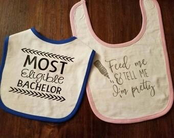 Funny & Cute Baby Bibs (Choice of Boy or Girl)