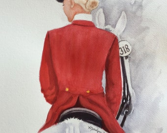 Equestrian original watercolor of Lady in Red coat mounted on white horse.