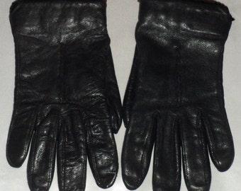 Vintage Bachner Wool Lined Black Leather Gloves 7 1/2