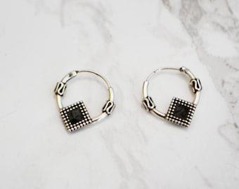 Black Star 925 Sterling Silver 12mm Balinese Sleeper Hoop Earrings