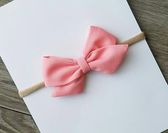 Peach fabric bow, fabric bow, nylon headband, peach sailor bow