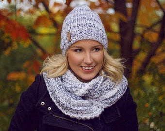Knit wool Hat and Scarf Set | Mist