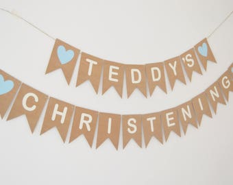 Personalised christening decoration Personalized Christening bunting Baptism banner New baby Custom decoration Baby boy Baby girl Bunting