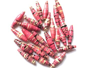 BUY1-GET1-FREE* 25 Ugandan Recycled Paper Beads 25mm, African handmade beads, slim beads, Mzuribeads, jewellery making, fair trade beads