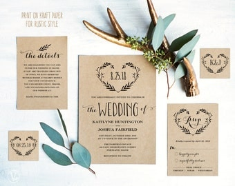 Rustic Wedding Invitation Template, Printable Wedding Invitations, DIY Kraft Wedding Invitation, Editable Text, Heart Wreath VW08