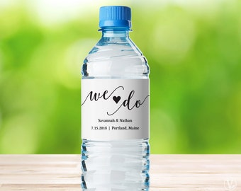 Water Bottle Labels, Printable Water Bottle Label Template, Personalized and Editable, We Do, VW10