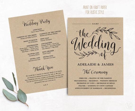 Printable Wedding Program Wedding Program Template Kraft