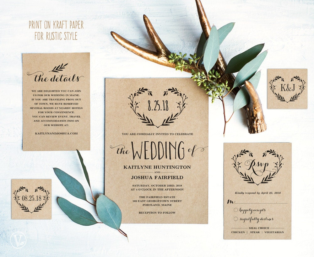 Free Rustic Wedding Invitation Templates: Rustic Wedding Invitation Template Printable Wedding