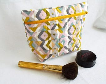 toiletry bag, make up holder, cosmetic bag, large zipped pouch, quilted clutch, geometric print cotton fabric